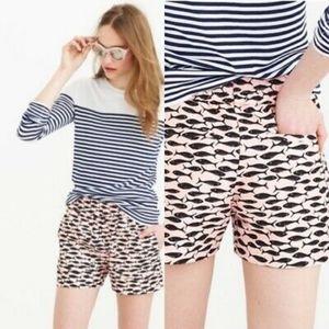 J Crew Pink Minnow Print Linen Blend Shorts C5730